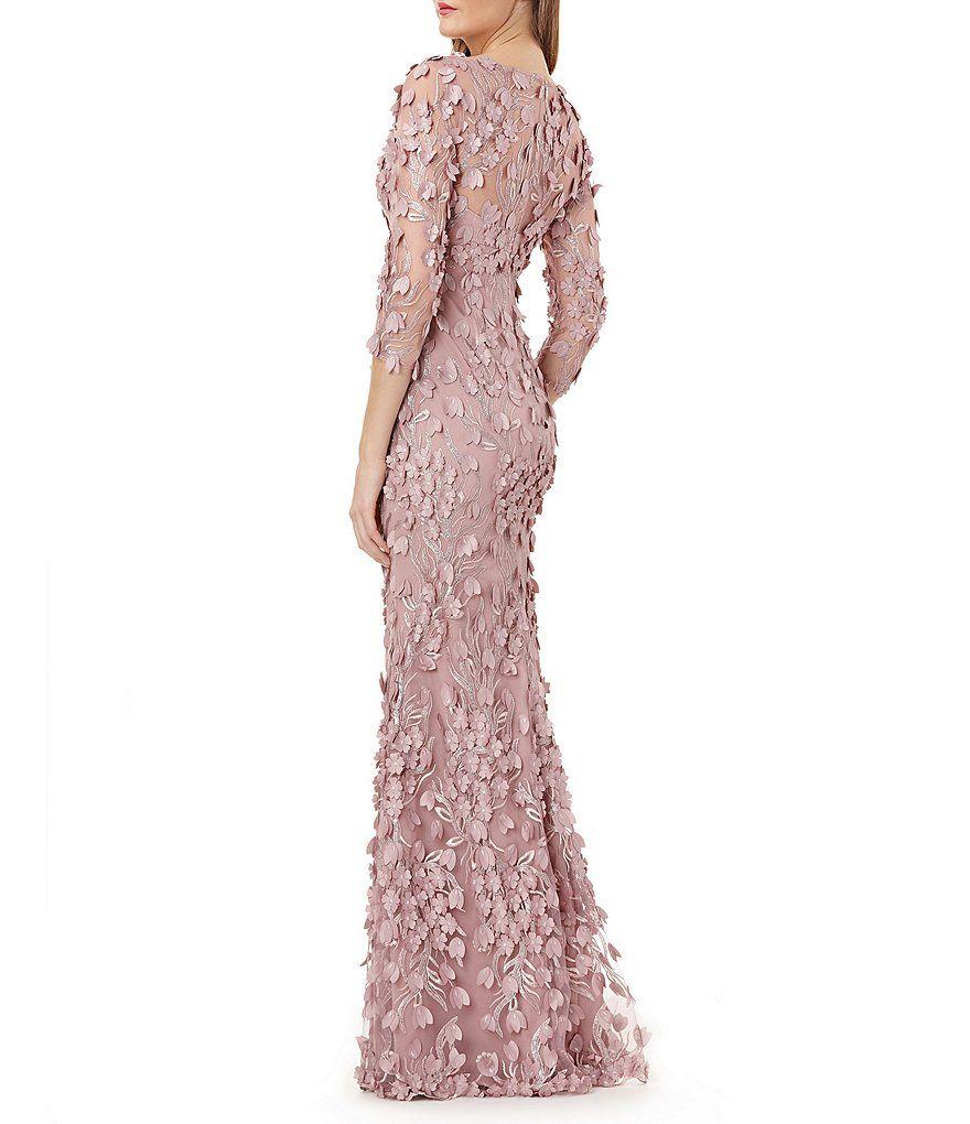 263aba9fbbb Carmen Marc Valvo Infusion V Neck Fleurette Gown#Valvo, #Marc, #Carmen