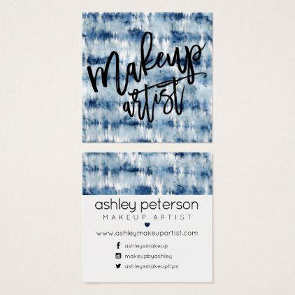 Makeup Typography Navy Blue Tie Dye Watercolor Square Business Card