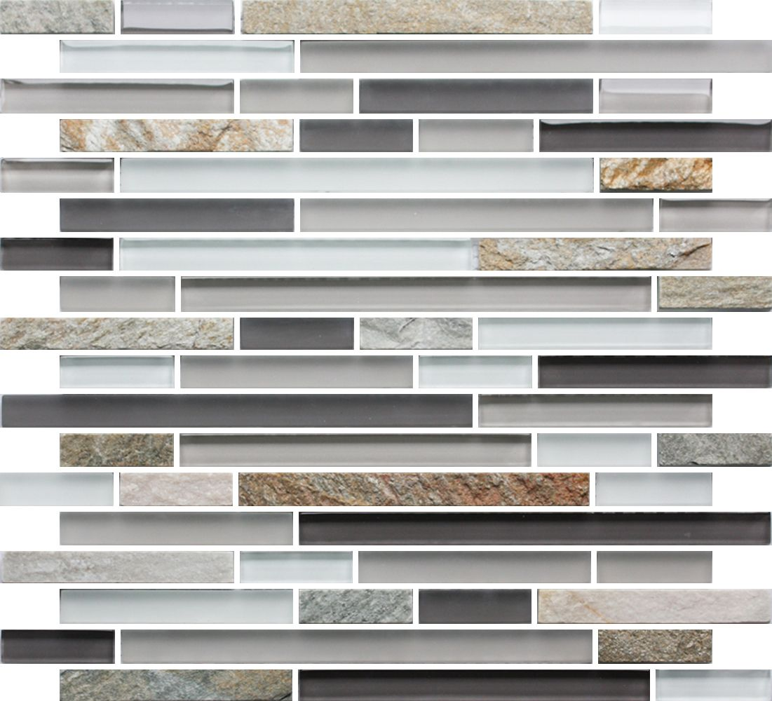 Sample Slate Stone Glass Gray White Linear Mosaic Tile: Pin By Mineral Tiles On Glass And Stone Tiles