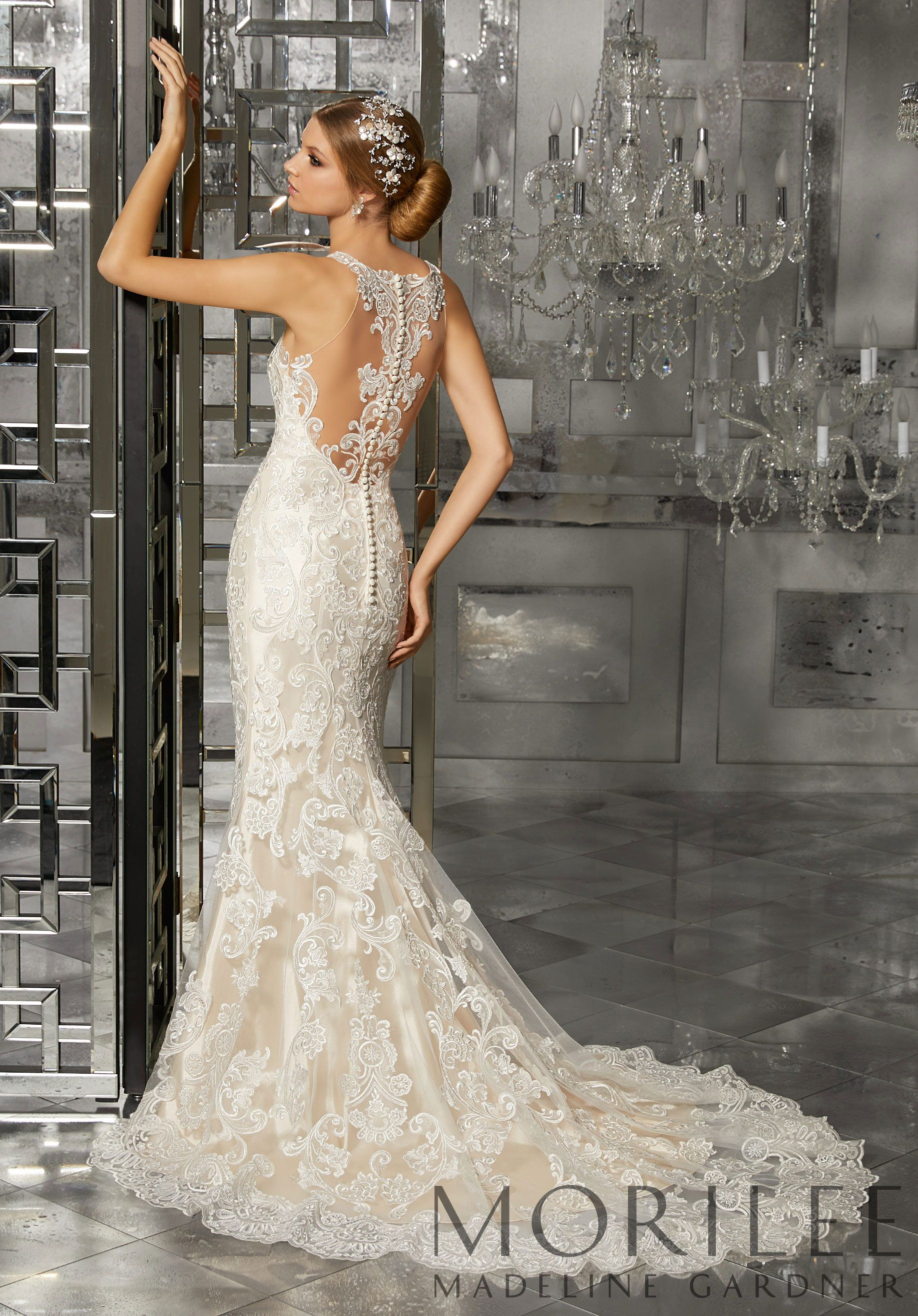 Fit and flare lace wedding dress  Morilee  Madeline Garder Mimi Bridal Dress Classic and Elegant