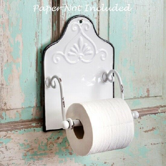 French Country Farmhouse Chic Chippy White Toilet Paper Towel Holder Wall Mount Ctw Toilet Paper Holder Wall Toilet Paper Holder Primitive Bathrooms
