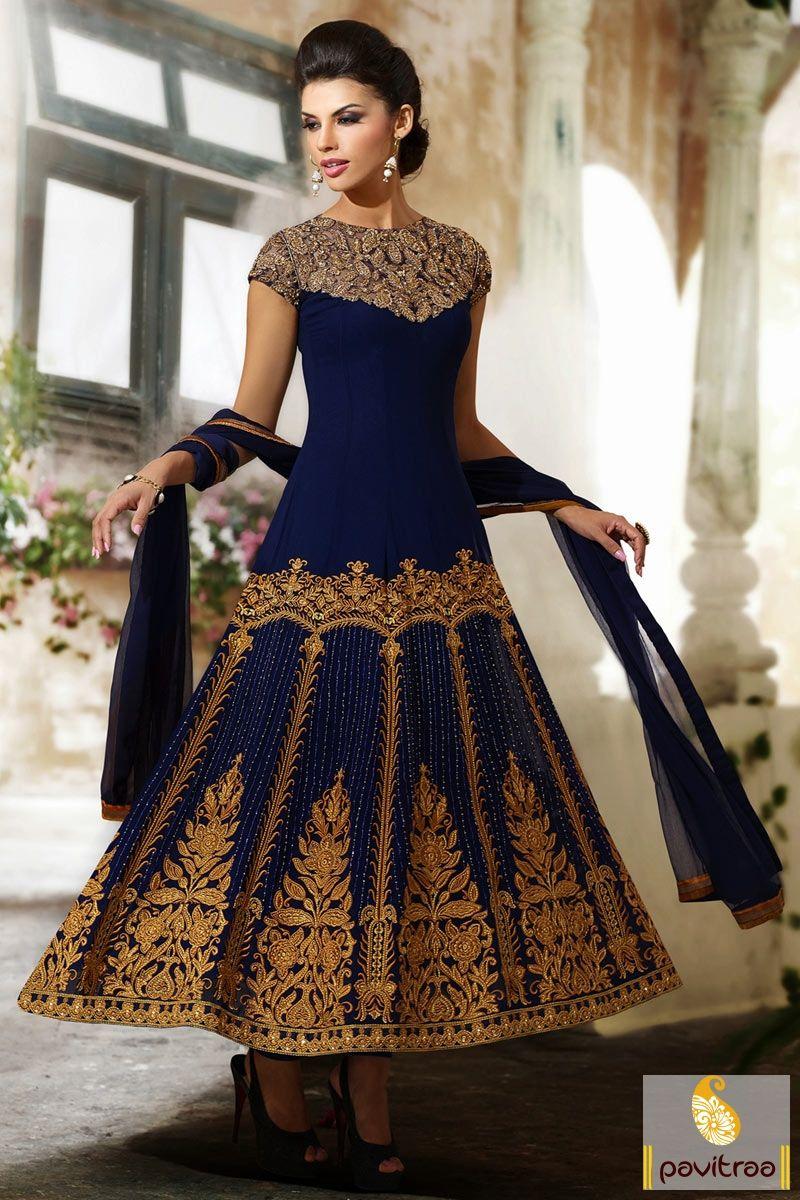 Pavitraa cobalt blue wedding bridal anarkali salwar suit rs