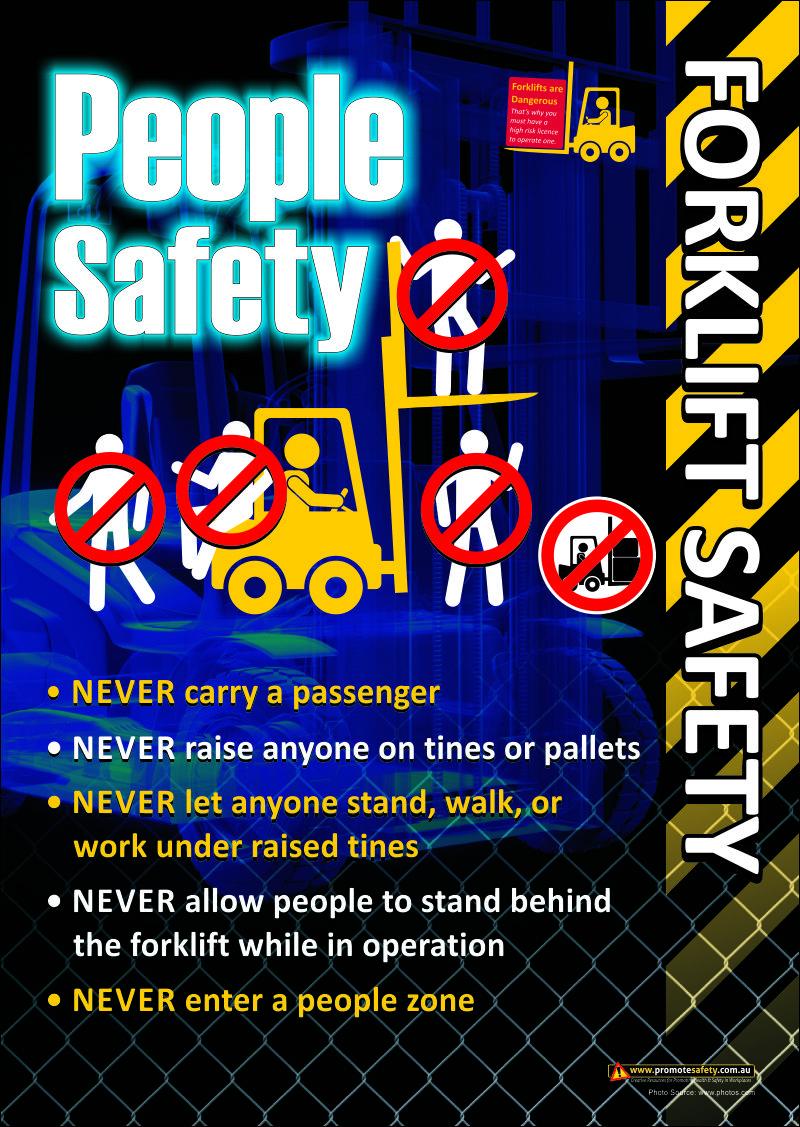 Forklift safety poster regarding people around forklifts