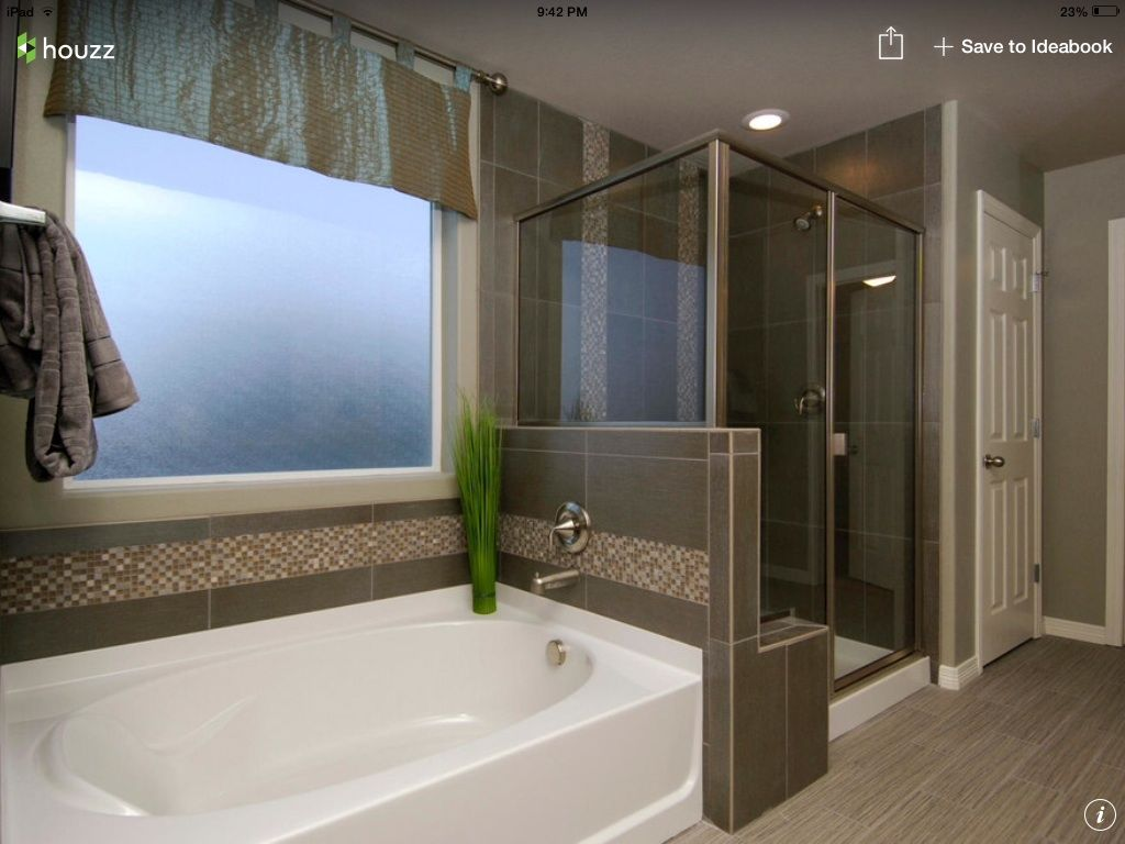 Vertical Mosaic Strip In The Shower Horizontal Around The Bath