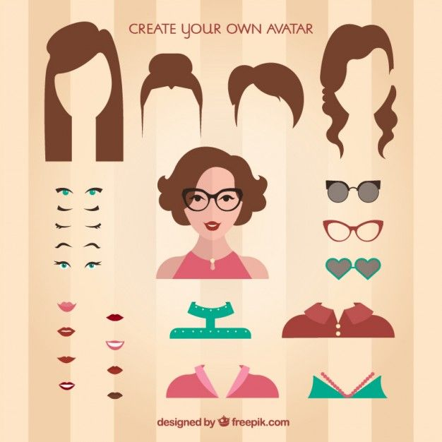Create Your Own Female Avatar Free Vector Ai And Picture - Design your hairstyle