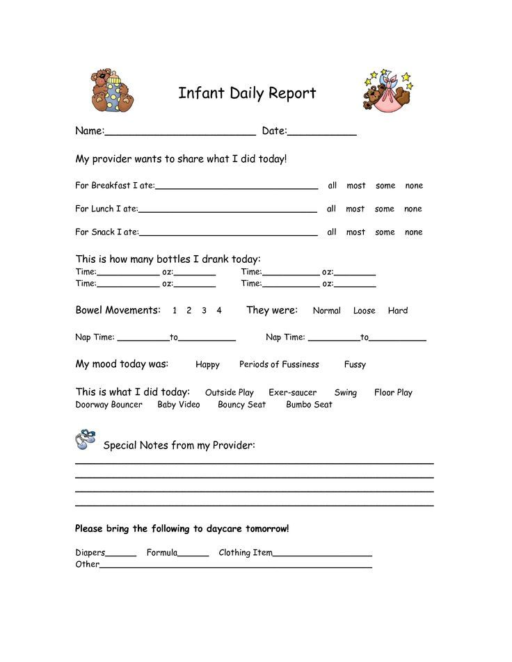 Infant Daily Reports Free Printables  Found On Uploaded By User