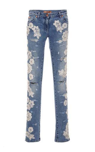 Blumarine Destroyed Denim Pants with Lace Details | Hosen