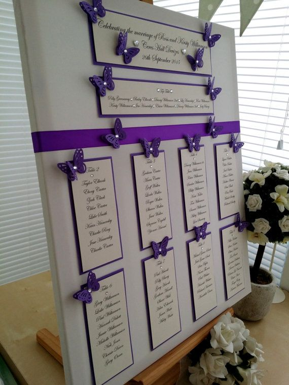 Purple Butterfly Wedding Seating Plan By WhiteCottageWedding