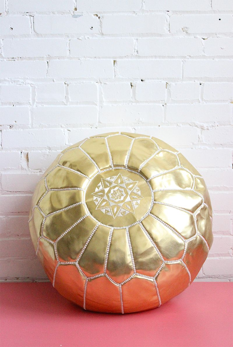 Gold Pouf - Moroccan Footstool. Faux Leather (Vegan) | Gold pouf ...