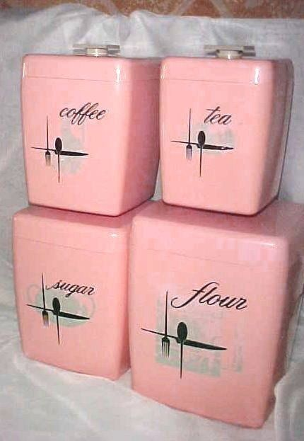 Retro Kitchen Canister Set | ... Piece Pink Retro Plastic Canister ...