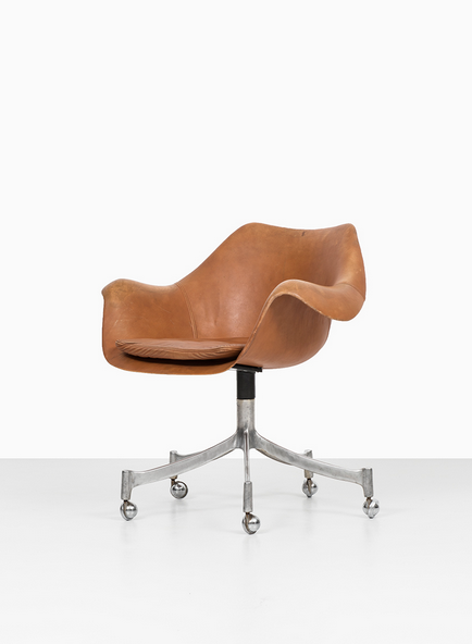 Jørgen Lund and Ole Larsen; Leather and Aluminum Swivel Chair for Bo-Ex, 1960s. Via Studio Schalling.