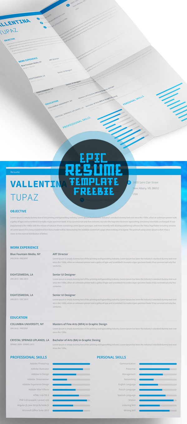 Free Epic Resume Template Psd  Ai    Template Cv