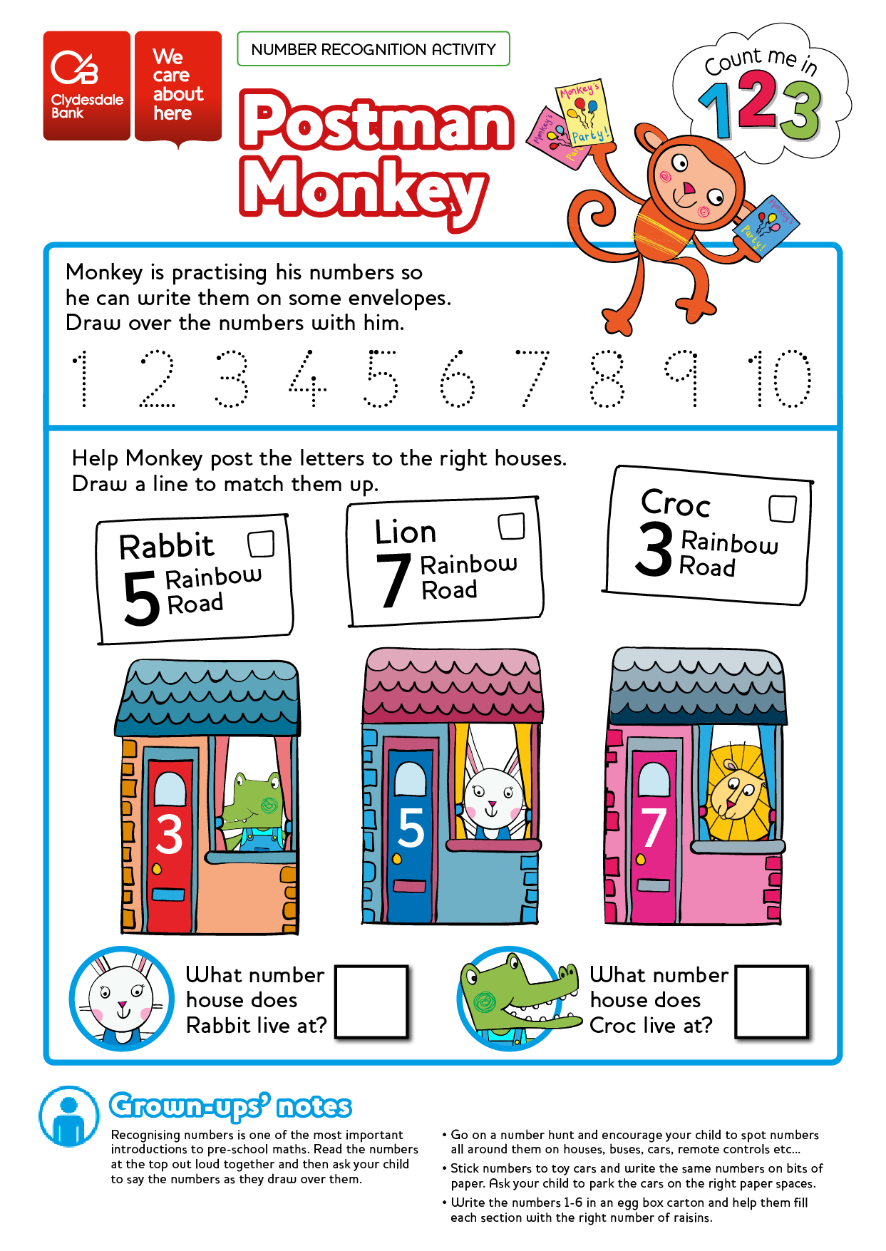 Free Numeracy Worksheet Printable Colouring In Sheet