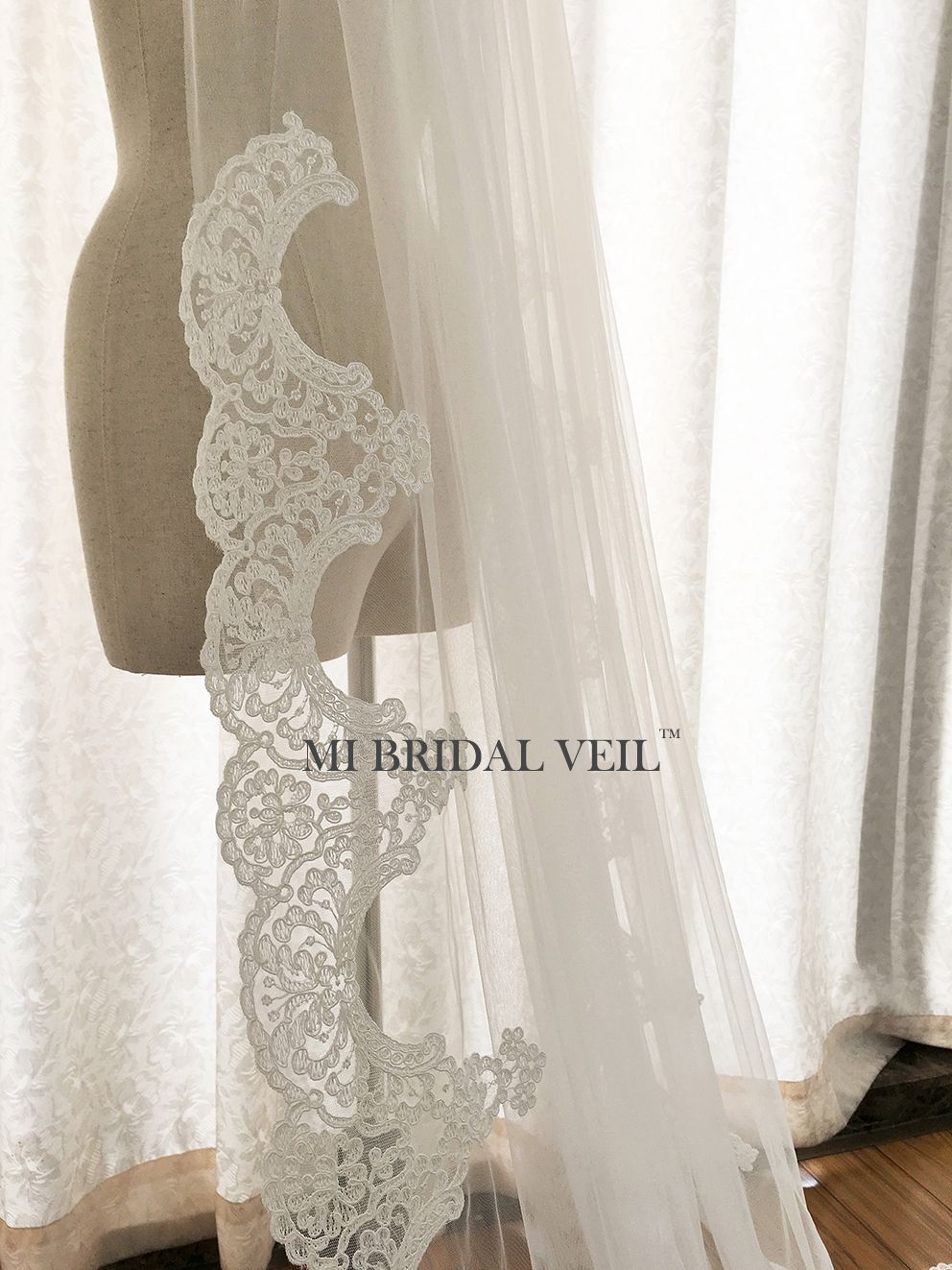 Cathedral Wedding Veil, Edwardian Inspired Lace at Hip, Mi