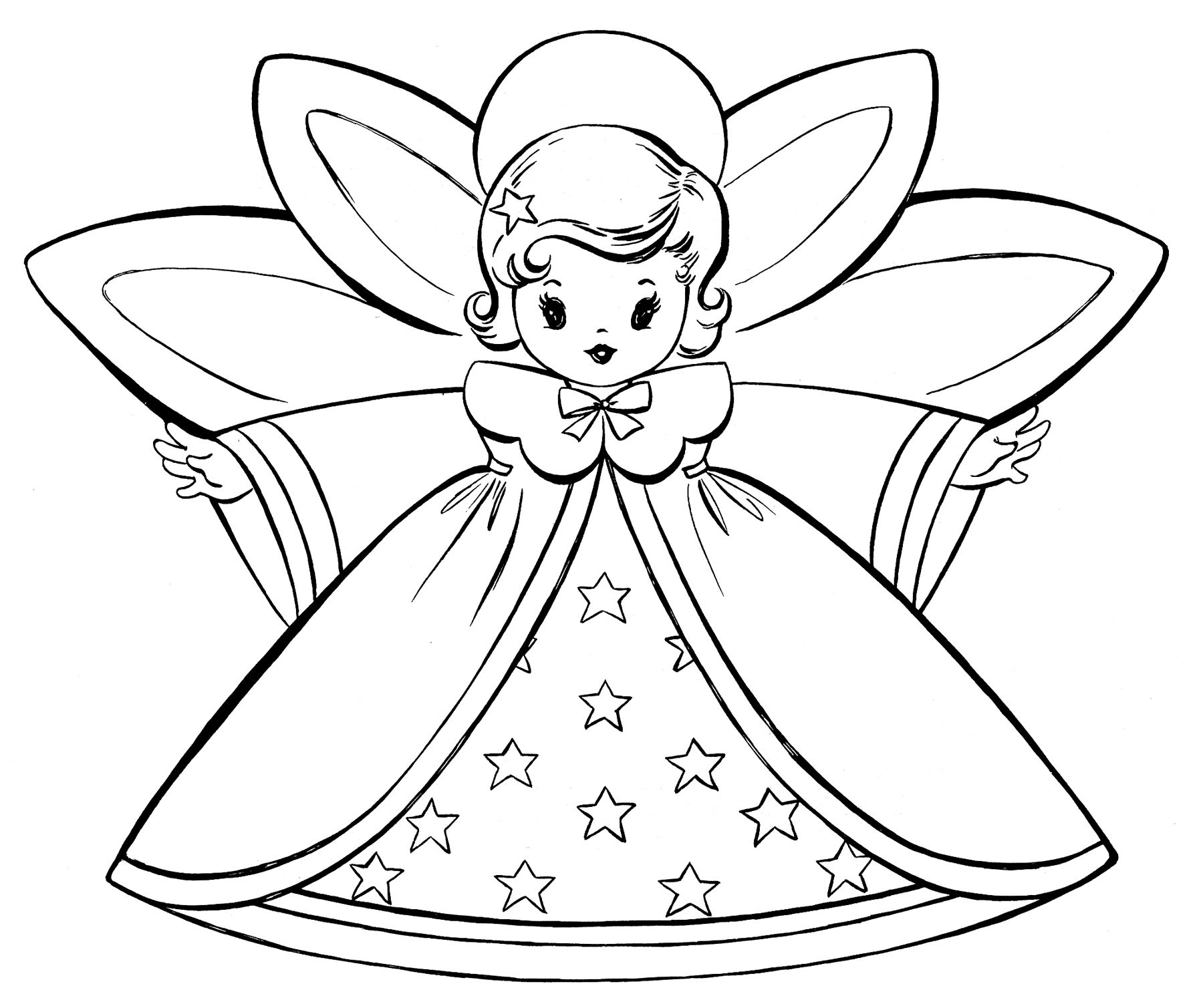 Angel Coloring Pages Free Christmas Retro Angels The Graphics Fairy