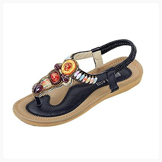 Summer Sandals Inkach Women Flat Shoes String Bead Bohemia Sandals Peep-Toe Outdoor Shoes