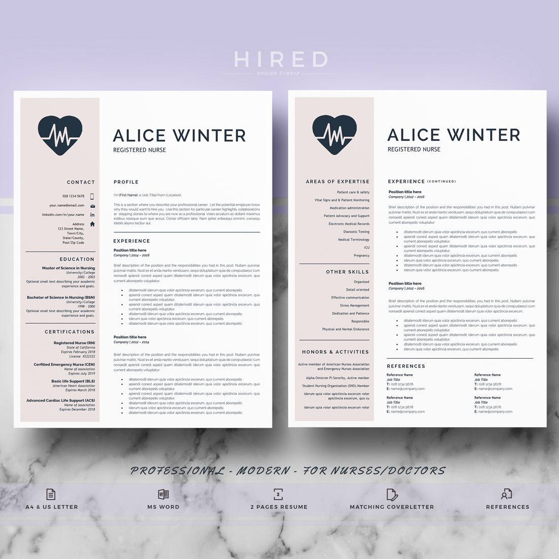 Nurse Resume Template | Doctor Resume Template For MS Word | RN Nurse Resume  | Doctor