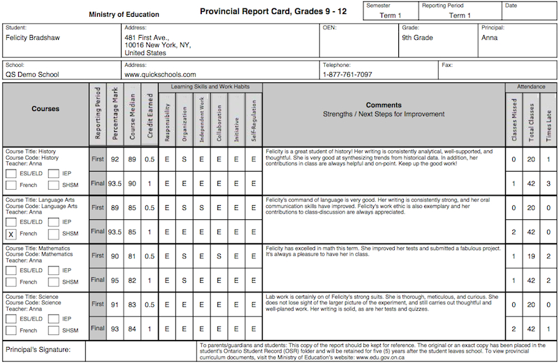 The Ontario Province Report Card Template School For Quality High School Student Report Card Template Report Card Template School Report Card Report Card