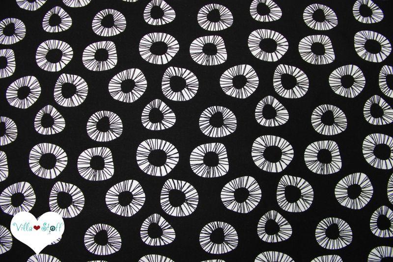 Free Jersey Stoff Schwarz Weiß Retro Dots Bio Von Villa