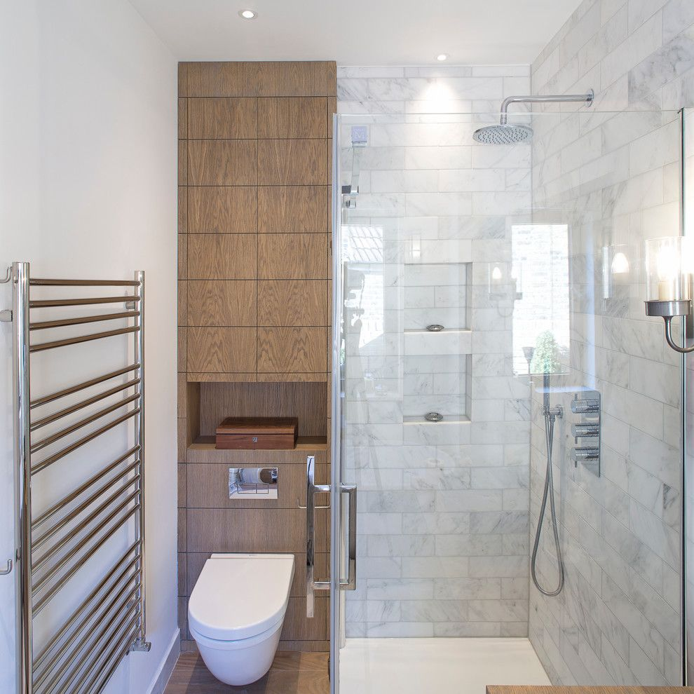 shower toilet combo Bathroom Contemporary with london marble tiles ...