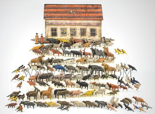 Antique Toy, Noah's Ark, 19th Century, 200+ Animals, entire view