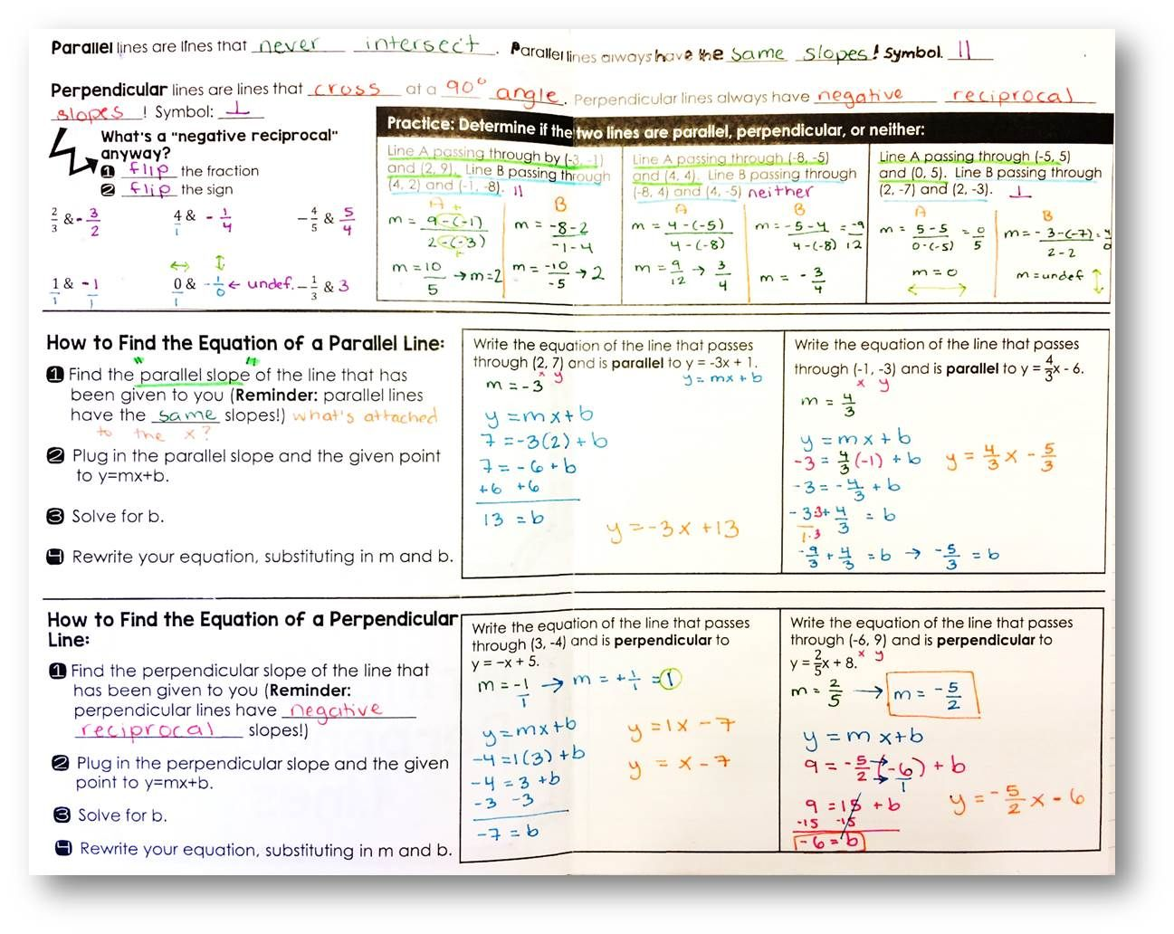 Writing Equations For Parallel And Perpendicular Lines Foldable Writing Equations Solving Quadratic Equations Graphing Linear Equations Writing equations of lines worksheets