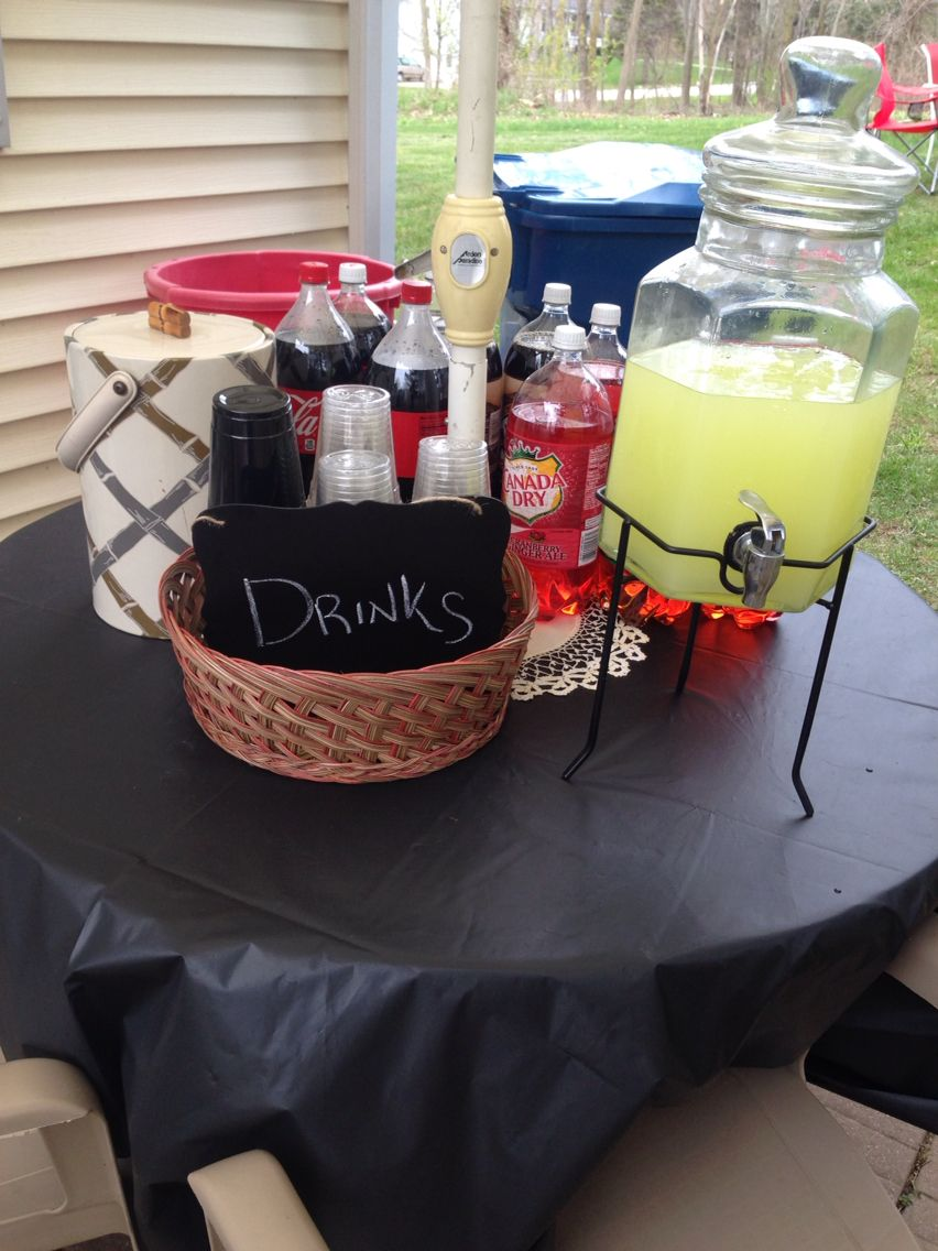 Party Food Drink Station Backyard Black White