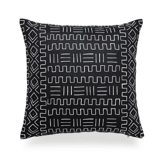 African Mud Cloth Fabric Throw Handwoven Cotton Mudcloth Black Solid Blanket