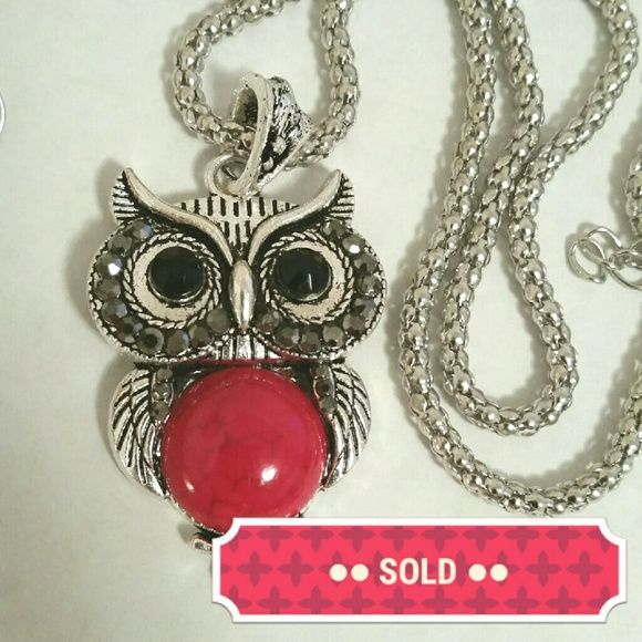 Cute owl necklace bracelet earrings set NEW Cute red and silver owl necklace, bracelet, and earring set. Pendant is 2 inches long with a 19 inch chain and 2 inch expander. Lobster clasp.  Bracelet is 6.5 inches around (fits a slender wrist). The owls on the bracelet and earrings are 1 inches long (not counting the hook). Faceted glass eyes. Pendent owl has a ring of dark grey faceted rhinestones around the eyes. The red faux stones  of the owls have a marbleized turquoise look to them. New…