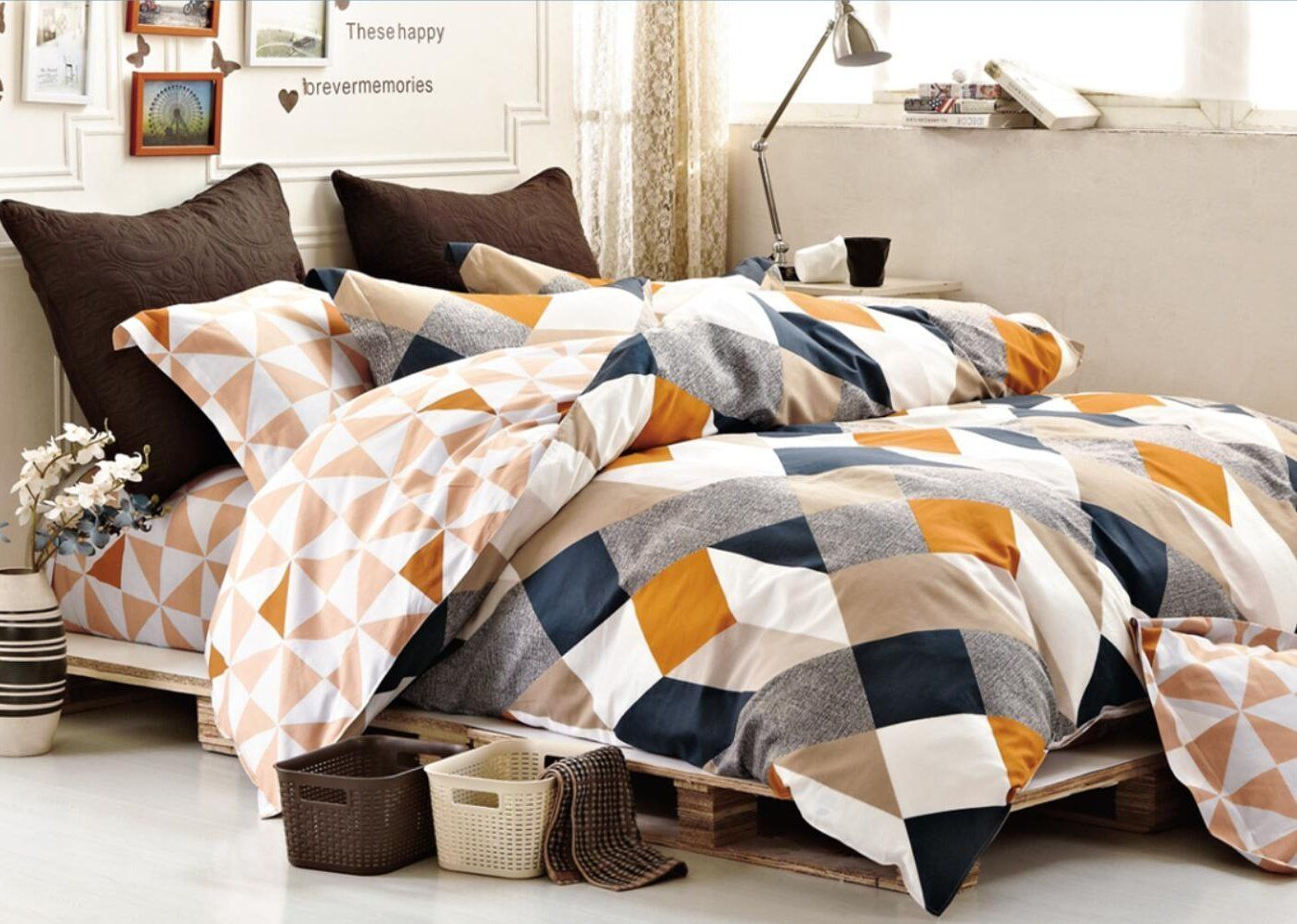 Amazon Com Minimal Style Geometric Shapes Duvet Quilt Cover Modern Scandinavian Design Bedding Set 10 Best Bed Sheets King Size Bed Designs Green Duvet Covers