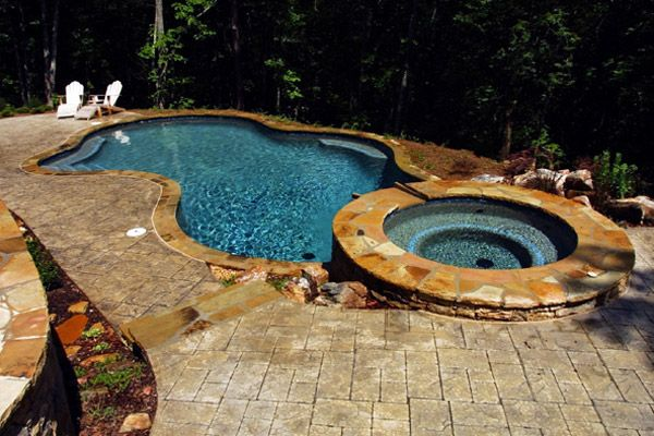 Pool With Hot Tub Connected Swimming Pool Hot Tub Backyard Inspo Cool Pools