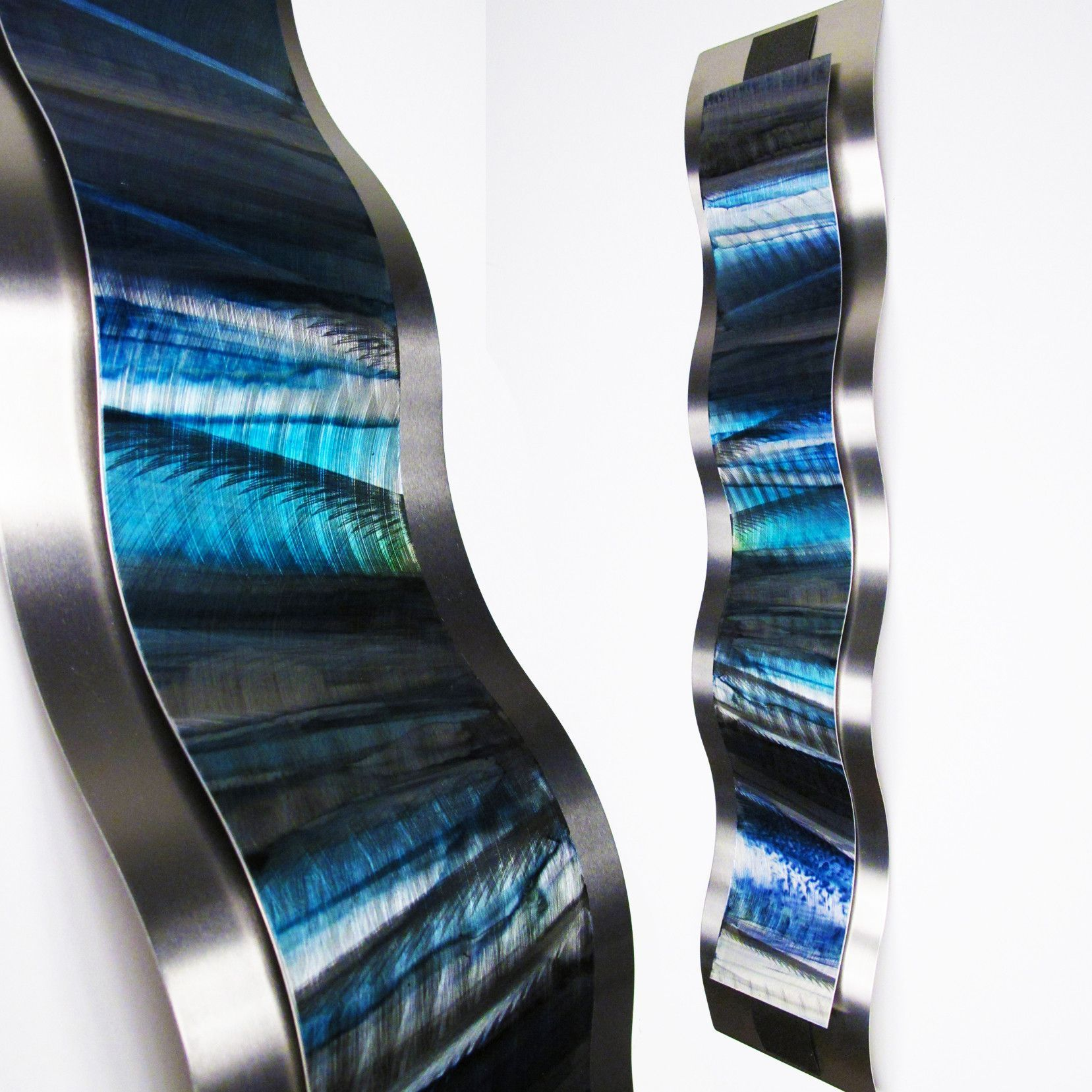 Blue Metal Wall Sculpture Rhythmic Curves Brian Jones