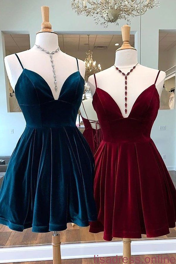 Spaghetti Straps Burgundy Deep V Neck Satin Homecoming Dresses Cocktail XHQPST14031