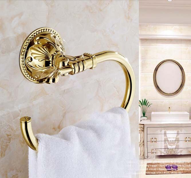 New Golden Brass Embossed Towel Rack Holder Wall Mounted Towel Ring Bar Hanger Loostarwater Towel Rack Bathroom Bathroom Towels Towel Rack