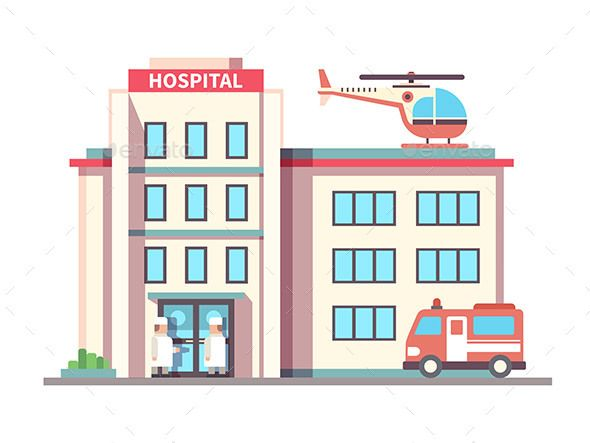 Hospital Building Flat Style Building Illustration Hospital Signs Building Drawing