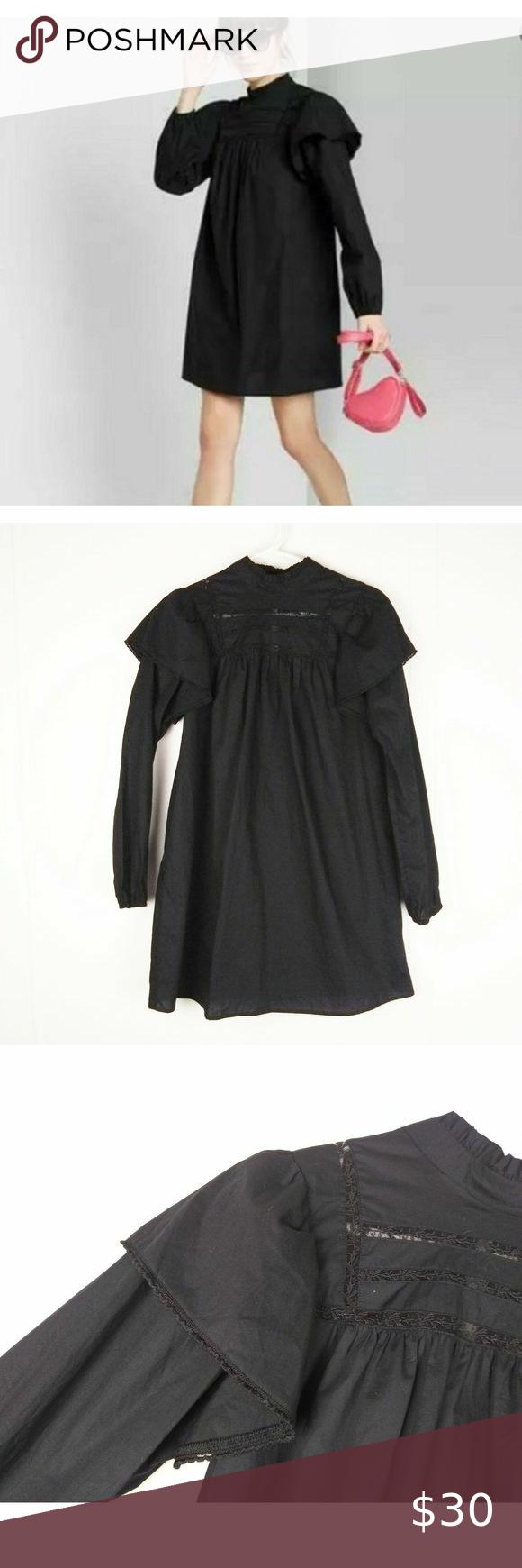 Wild Fable New Black Poplin Dress S Poplin Dress Black Poplin Dress Long Sleeve Dress [ 1740 x 580 Pixel ]