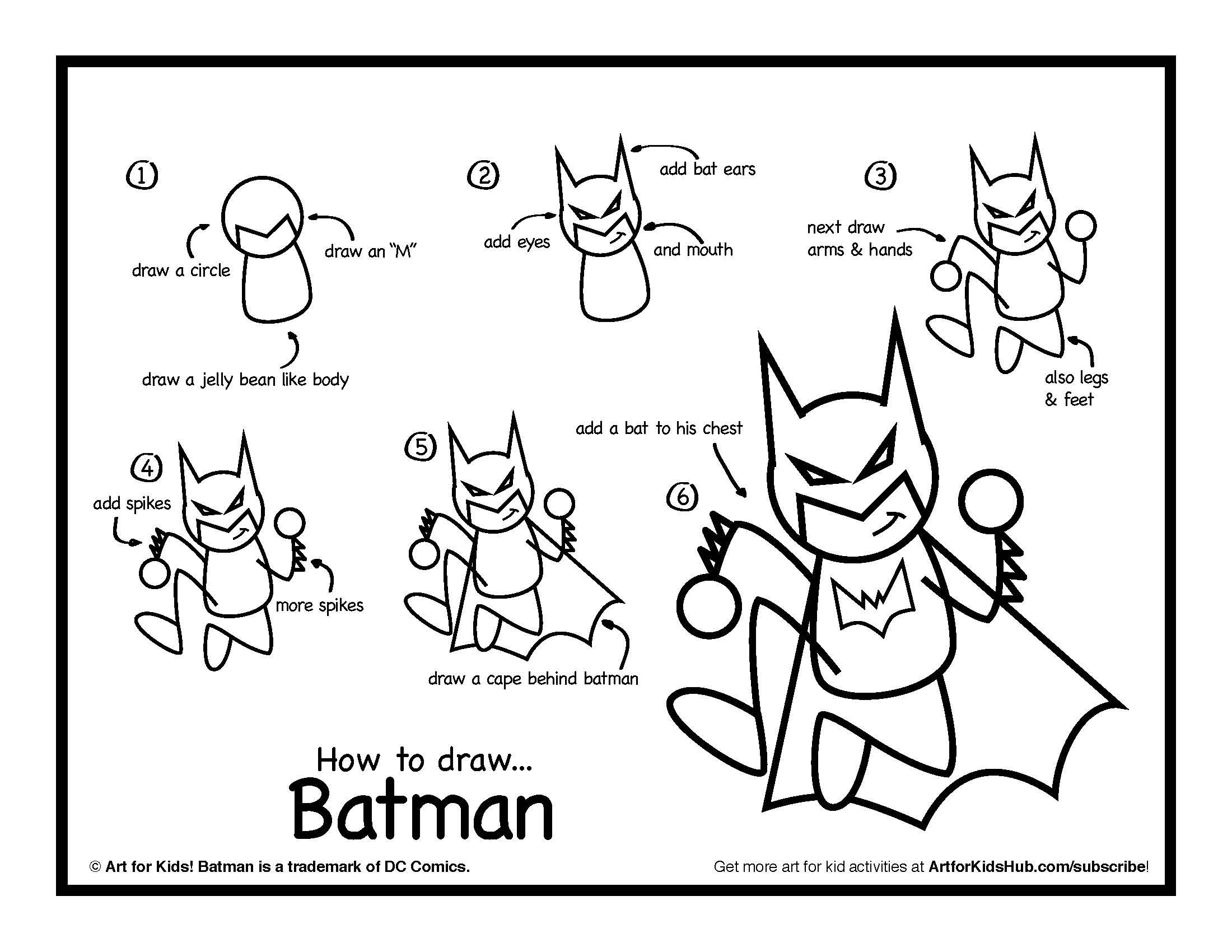 How To Draw Batman - Art For Kids Hub - | Kid, How to draw and To draw