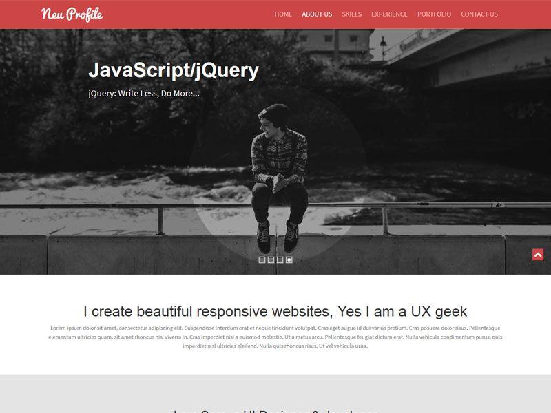 A professional Free Profile Bootstrap Web Template u2013 Neu The - free profile templates