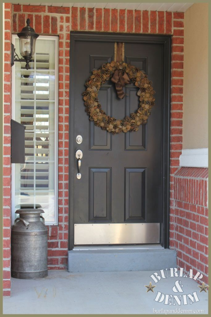 An Easy Tutorial For A Pine Cone Wreath Brick Exterior House Exterior Door Colors Red Brick House Exterior