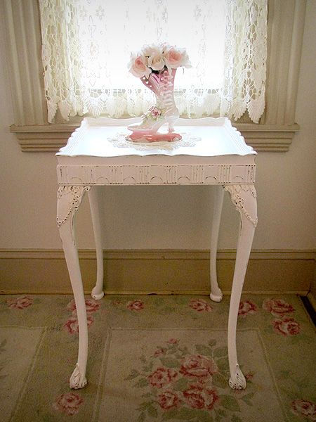 White and pink antique end table vintage shabby chic - Simply shabby chic bedroom furniture ...