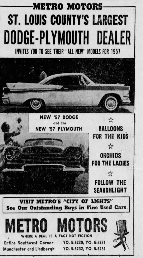 1957 Dodge And Plymouth At Metro Motors Used Car Lots Louis Used Cars