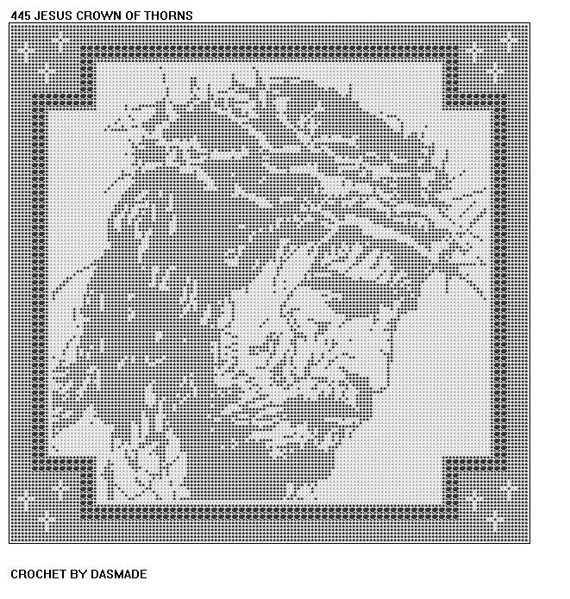 Jesus Crown of Thorns Filet Crochet Pattern Doily Mat by dasmade ...