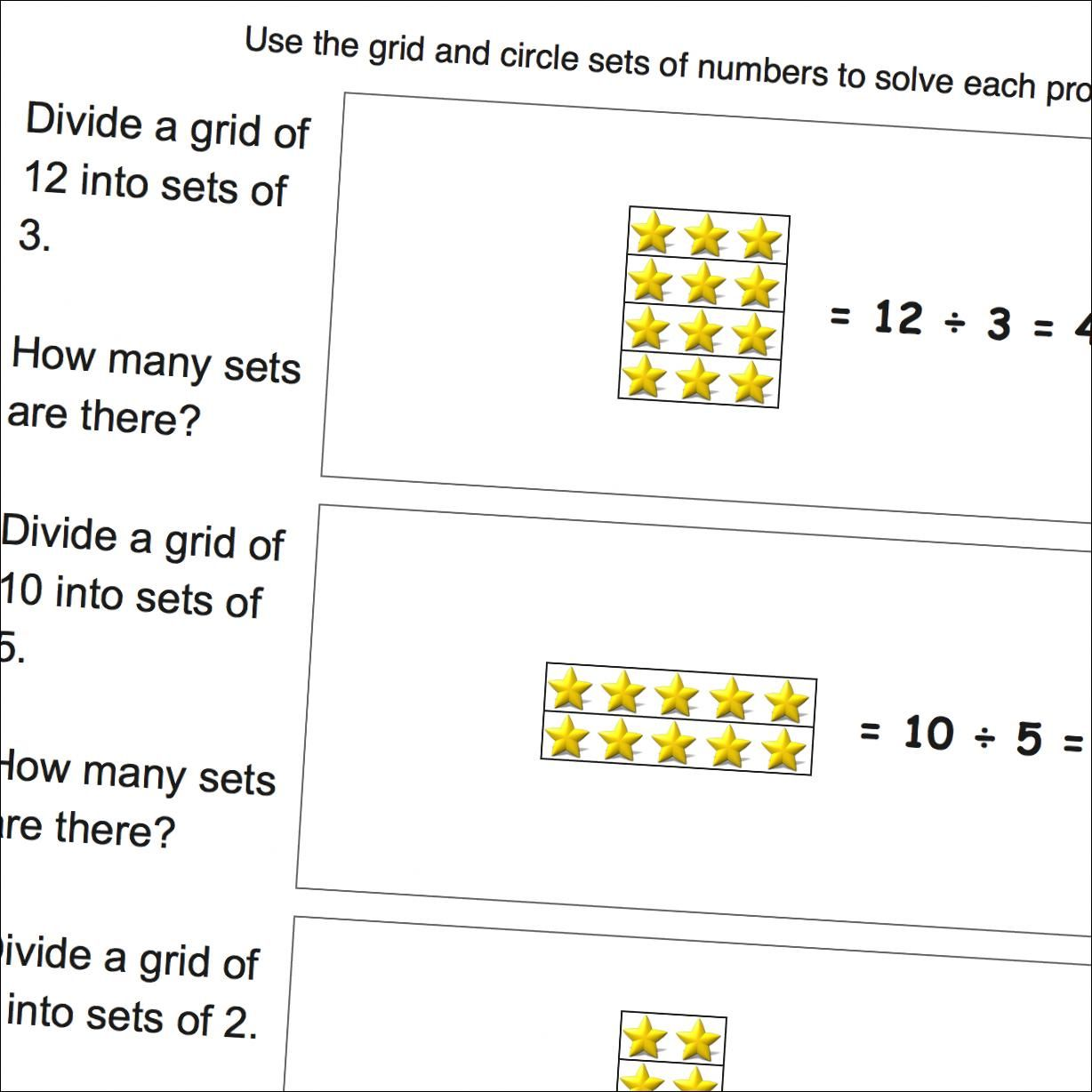Math Worksheets Division Word Problems