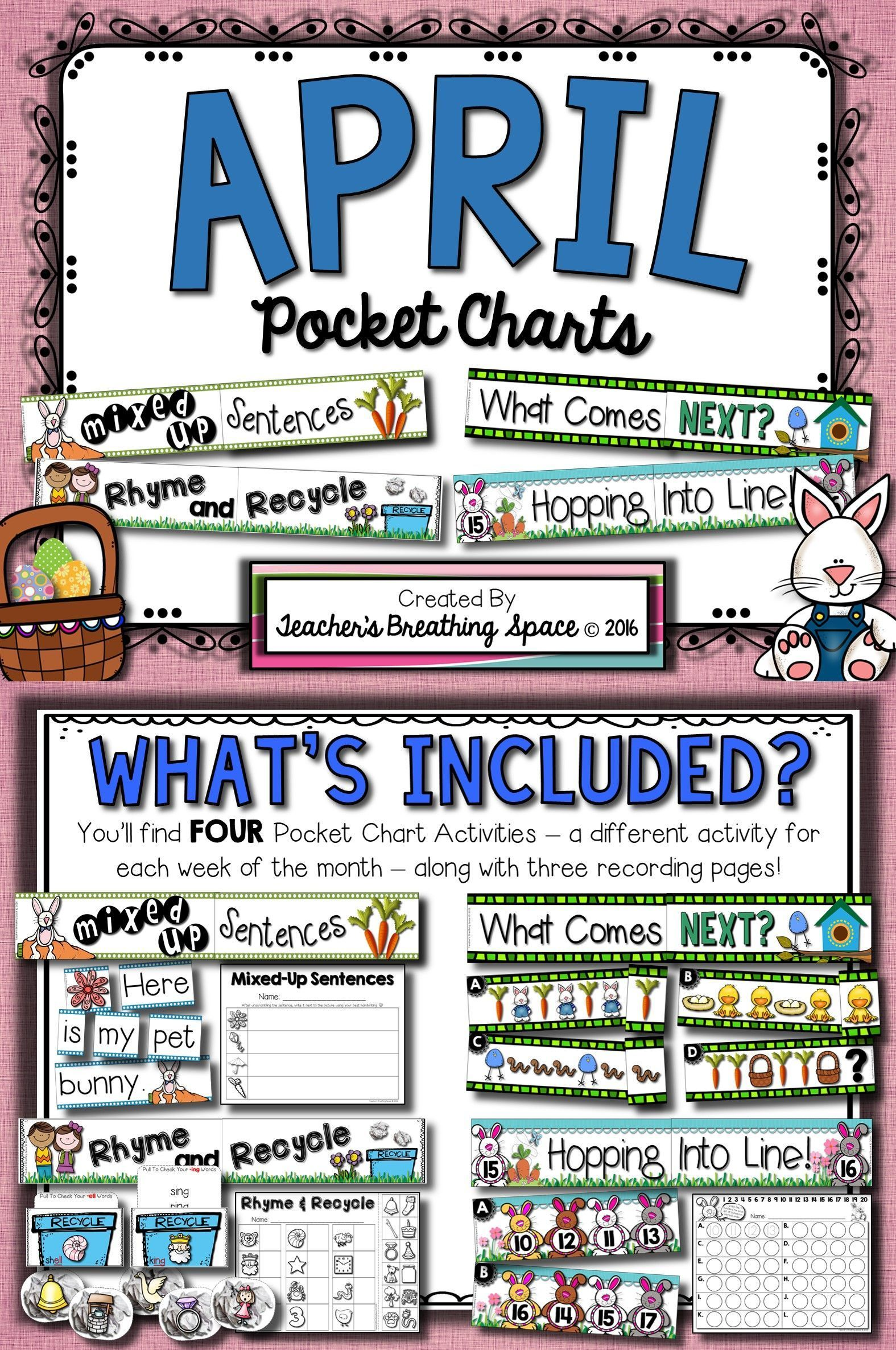 April Pocket Charts Four Math And Literacy Pocket