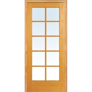 Mmi Door 32 In X 80 In Right Handed Unfinished Pine Wood Clear Glass 10 Lite True Divided Single Prehung Interior Door Z019939r French Doors Interior Glass French Doors Prehung Interior French Doors