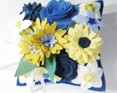 Just imagine this felted flower pillow with small to medium sparkly pins in the flower centers for your ring pillow.  So sparkly, fun and out of the box.