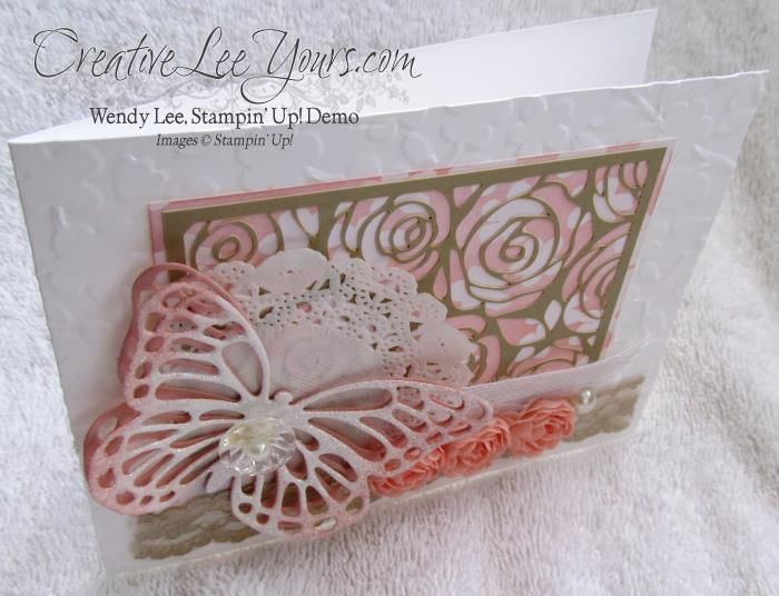 Lacy Butterfly by Wendy Lee, #Creativeleeyours, Stampin Up, Artisan Embellishment Kit, Butterfly framelits
