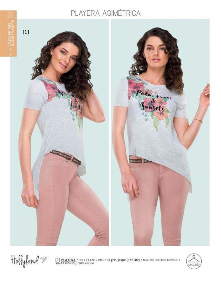 f6e6b426 Playera asimetrica para mujer de la marca Holly Land, catalogo Price Shoes.  Blusa de moda para el verano.