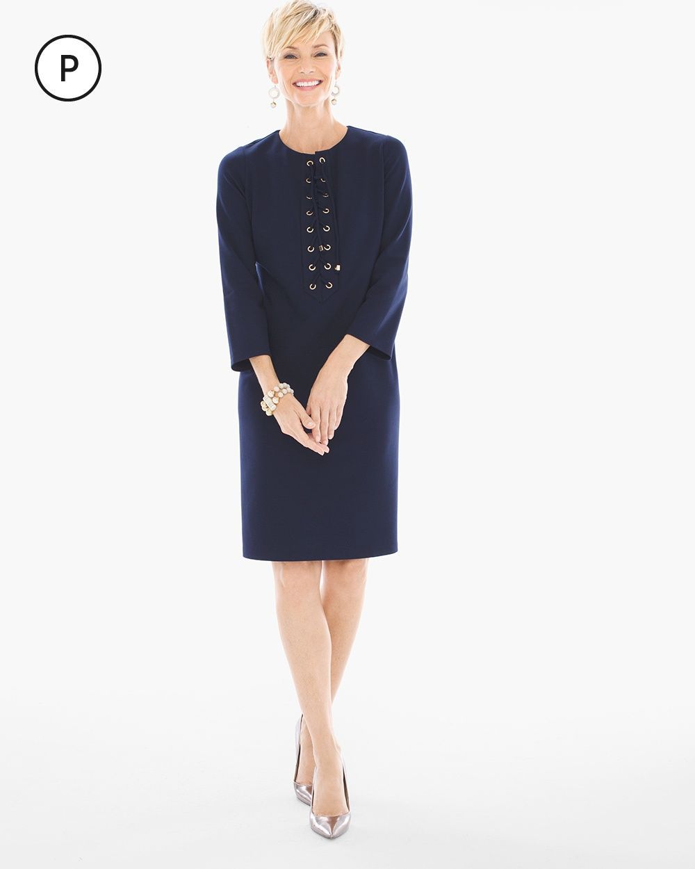 Chicous womenus petite ponte laceup short dress deep navy size