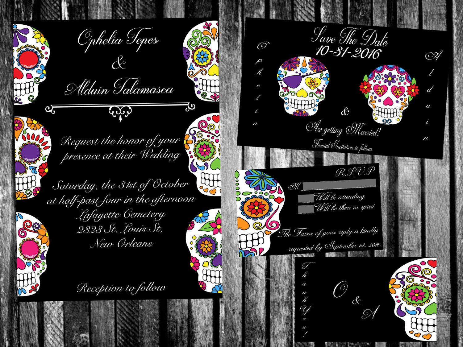 Calacas Mexican Day Of The Dead Wedding Invitation, Save The Date, RSVP,  And Thank You Digital File Kit Printable Dia De Los Muertos